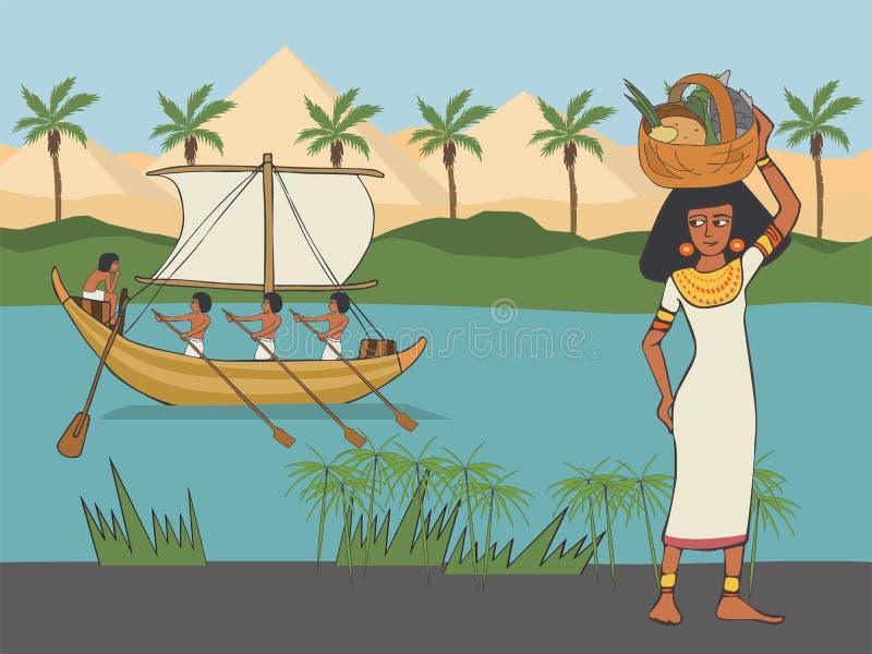 Vardagsliv i den Anicient Egypten tecknade filmen stock illustrationer