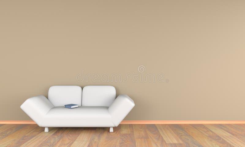 vardagsrum 3d med den vita soffan och boken royaltyfri bild