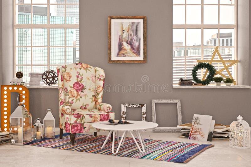 Vardagsrum eller ett hörn i photostudio med julgarnering och den härliga blommafåtöljen vektor illustrationer
