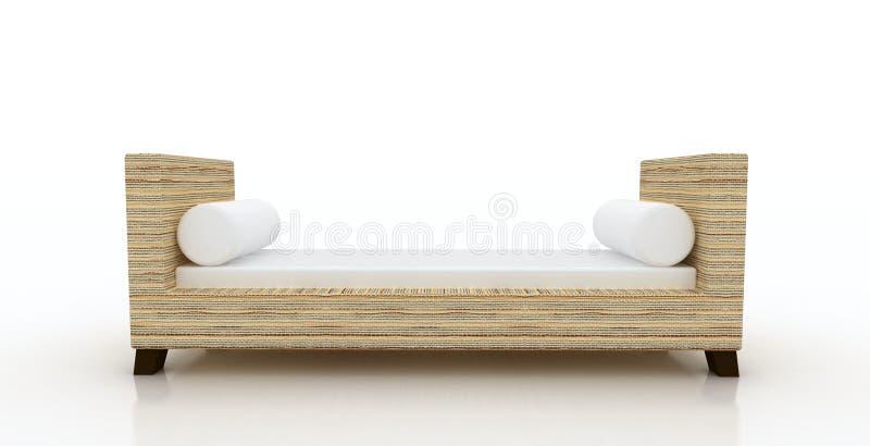 Vardagsrum för chaise för vassarmbänk stock illustrationer