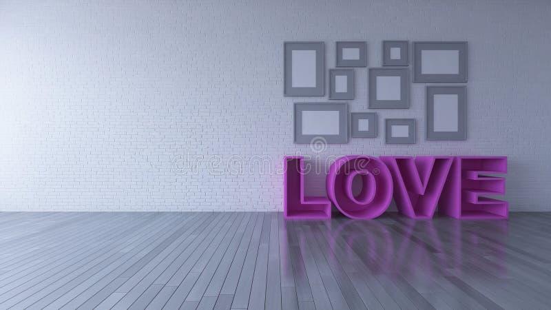 vardagsrum för design för inre 3d och rosa färgsoffa royaltyfri illustrationer
