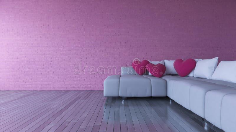 vardagsrum för design för inre 3d och rosa färgsoffa stock illustrationer