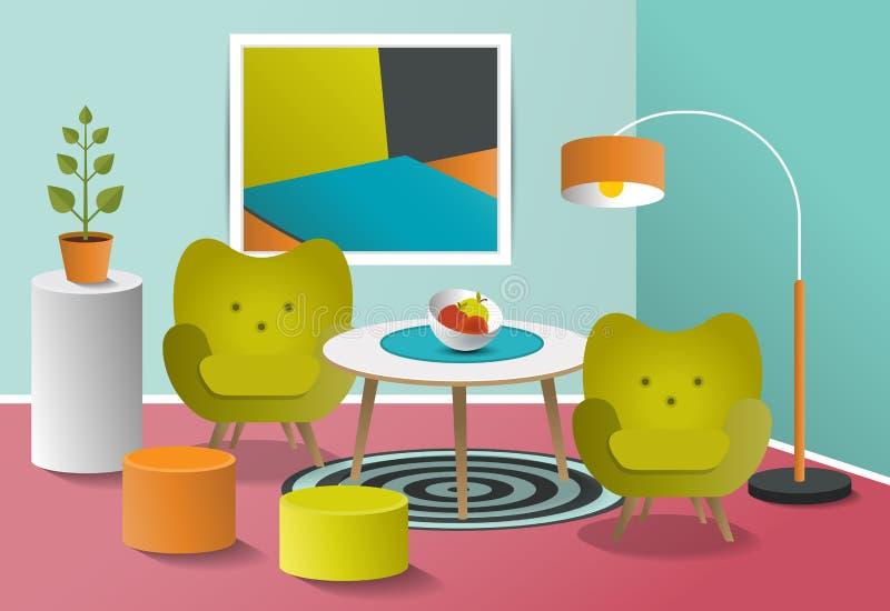 Vardagsrum för inre för popkonst Färgrik design för Retro minimalism vektor illustrationer