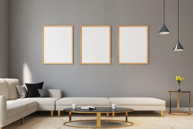 Vardagsrum för tre affisch, tabell royaltyfri illustrationer