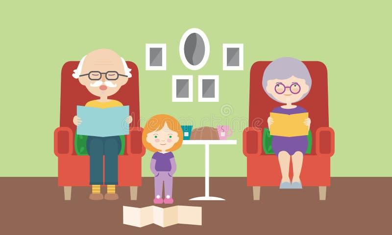 Vardagsrum, farmor och farfar som sitter på stol och läser barnbarnet från boken, vektor, plan tecknad film royaltyfri illustrationer