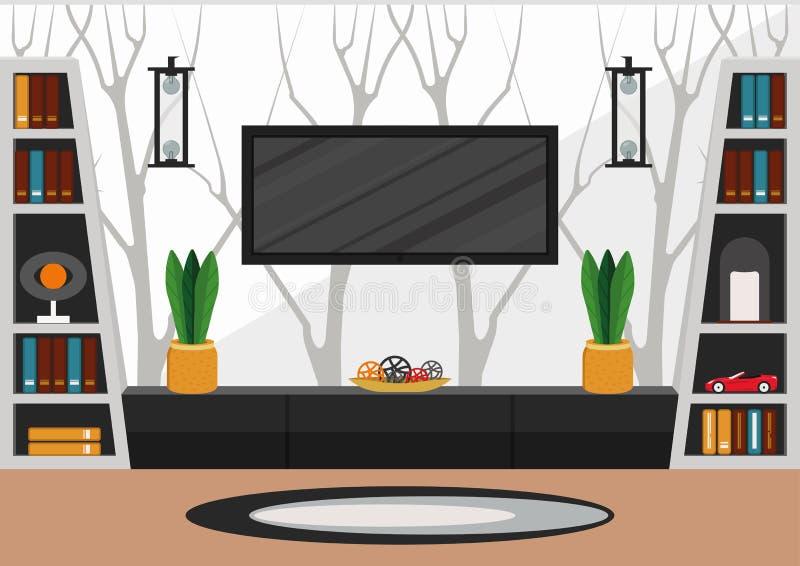 Vardagsrum i minimalist stil royaltyfri fotografi