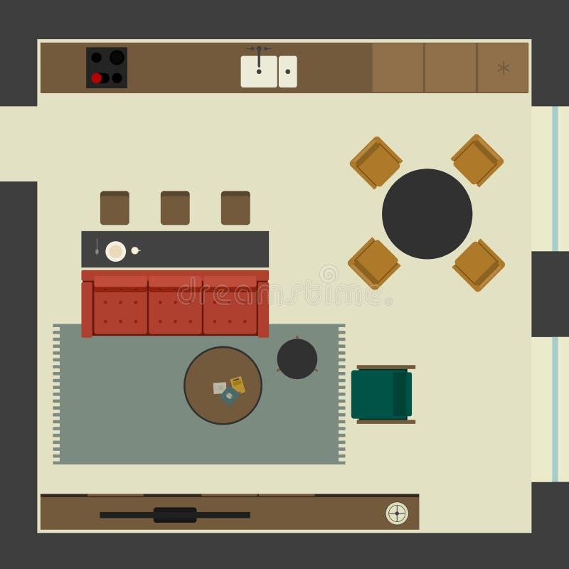 Vardagsrum i plan stil stock illustrationer