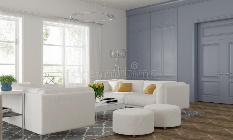 Vardagsrum med den blåa väggen royaltyfri illustrationer