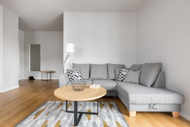Vardagsrum med den gråa soffan royaltyfri bild