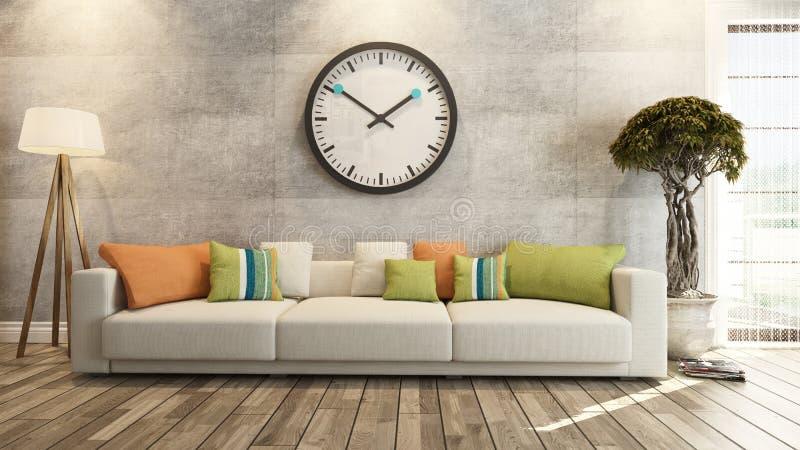 Vardagsrum med den stora klockan på tolkning för betongvägg 3d royaltyfri illustrationer