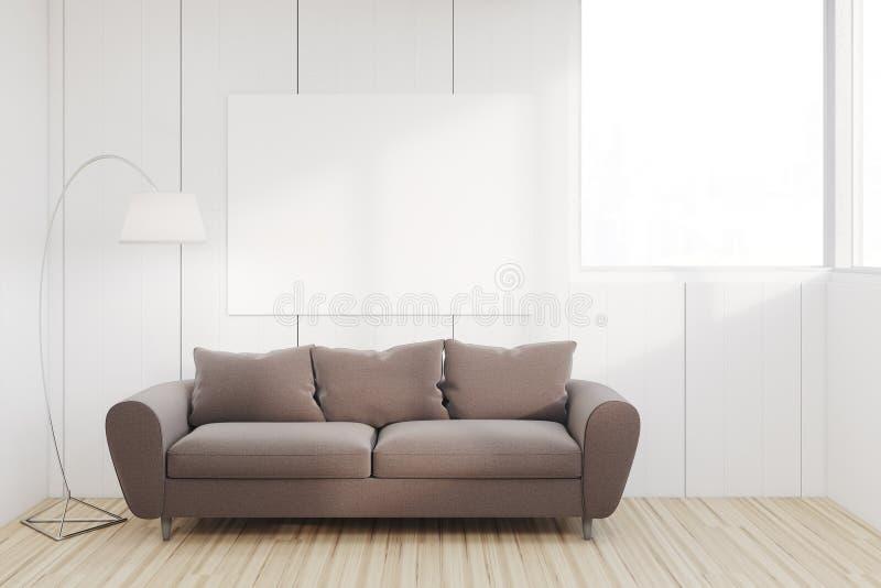 Vardagsrum med den stora soffan royaltyfri illustrationer