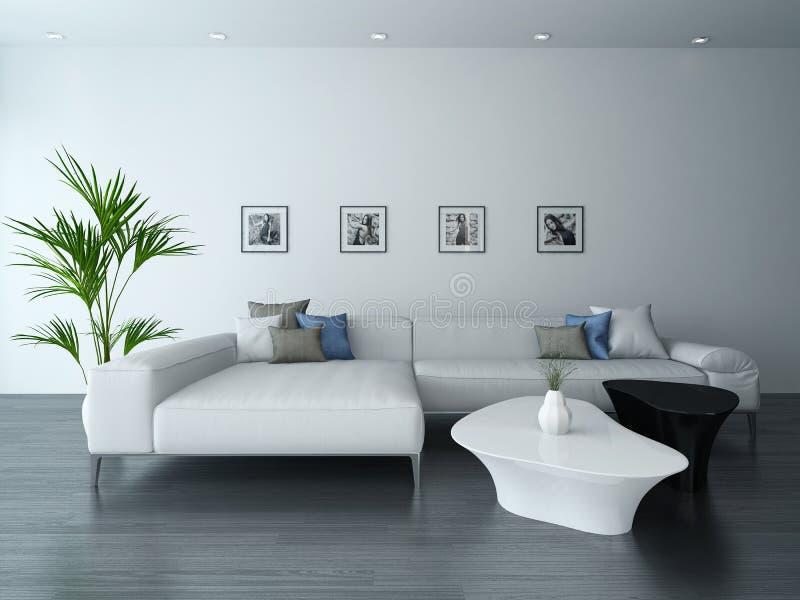 Vardagsrum med den vita soffan och stående vektor illustrationer