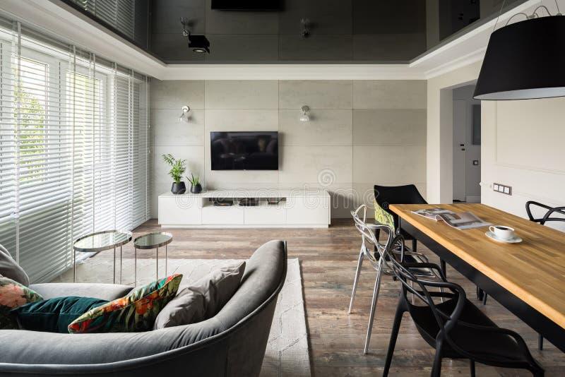 Vardagsrum med elasticitetstaket royaltyfria foton