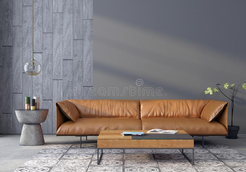 Vardagsrum med en lädersoffa stock illustrationer