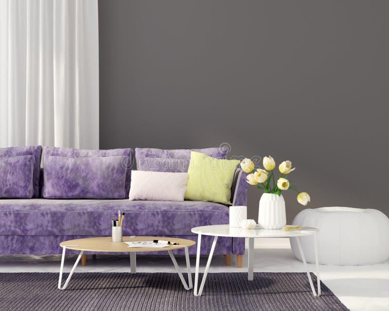 Vardagsrum med en purpurfärgad soffa vektor illustrationer