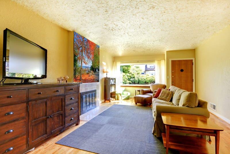 Vardagsrum med grå färgfilten, gula väggar och TV:N på den stora skänken. arkivfoto