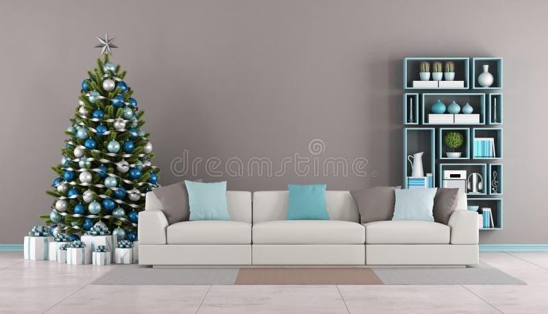 Vardagsrum med julträdet royaltyfri illustrationer