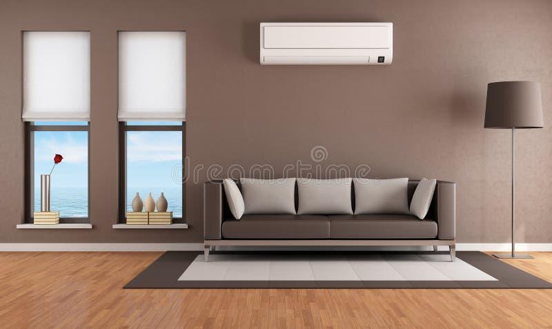 Vardagsrum med luftkonditioneringsapparaten vektor illustrationer