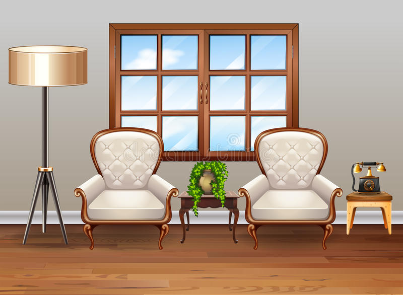 Vardagsrum med lyxiga fåtöljer vektor illustrationer