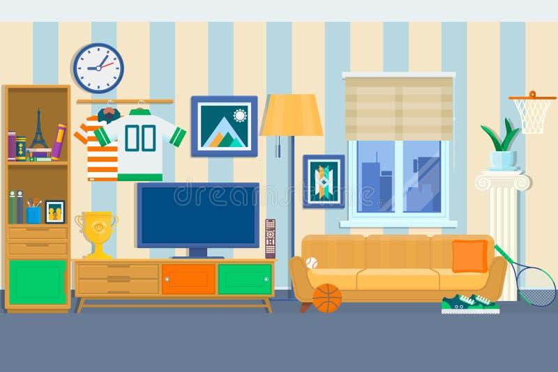 Vardagsrum med möblemang Hemtrevlig inre med soffan och tv Hem- modern illustration för vektor för stil för lägenhetdesignlägenhe vektor illustrationer