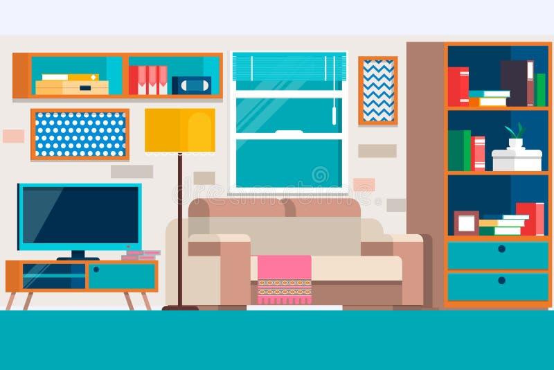 Vardagsrum med möblemang Kall grafisk vardagsruminredesign med möblemangsoffan, stolar, bokhylla, tabell, lampor royaltyfri illustrationer