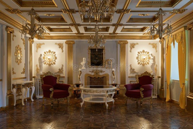 Vardagsrum med spisen i klassisk tolkning för stil 3d royaltyfri illustrationer