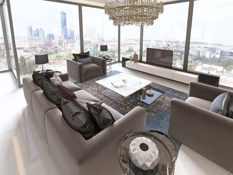Vardagsrum med stora fönster och härliga sikter av staden stock illustrationer