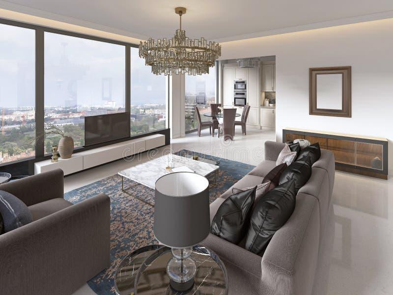 Vardagsrum med stora fönster och härliga sikter av staden royaltyfri illustrationer