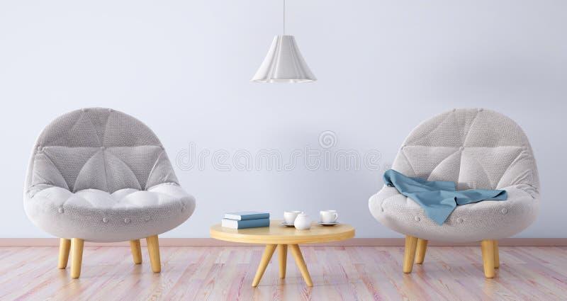 Vardagsrum med två fåtöljer, tolkning för kaffetabell 3d vektor illustrationer