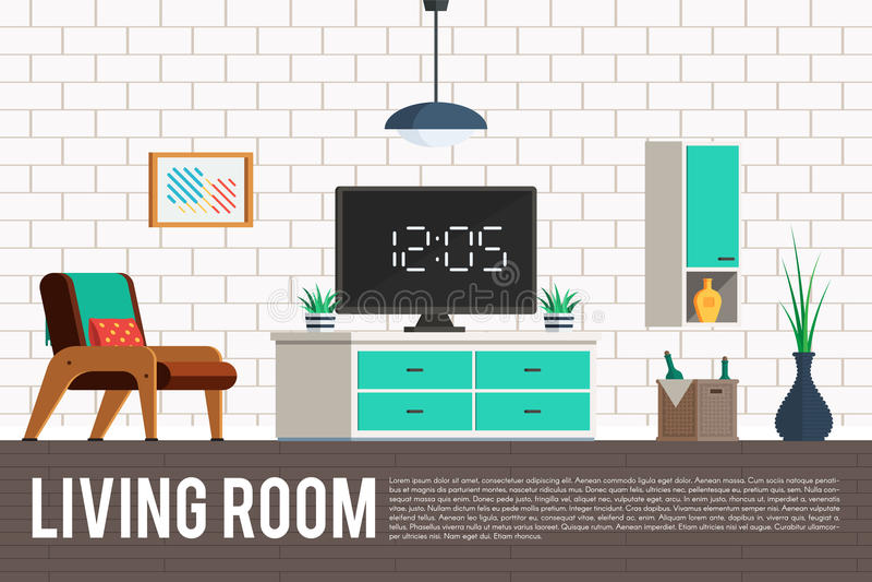 Vardagsrum med TV:N vektor illustrationer
