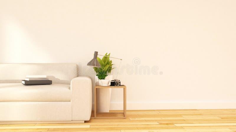 Vardagsrum- och coffeavbrottsområde gör ren design--3Dtolkningen stock illustrationer