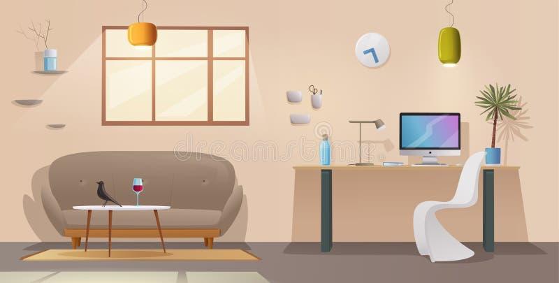 Vardagsrum- och kontorsinre Modern lägenhetscandinavian eller vinddesign den främmande tecknad filmkatten flyr illustrationtakvek vektor illustrationer