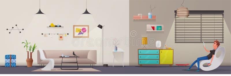 Vardagsrum- och kontorsinre Modern lägenhetscandinavian eller vinddesign den främmande tecknad filmkatten flyr illustrationtakvek stock illustrationer