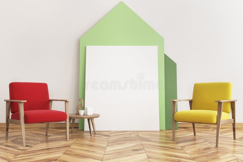 Vardagsrum, röda och gula fåtöljer för husaffisch stock illustrationer