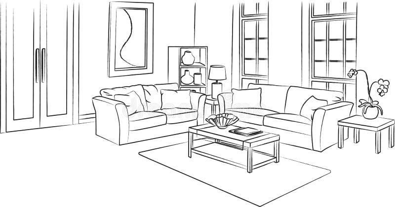 Vardagsrum skissar och skisserar vektorillustrationen stock illustrationer