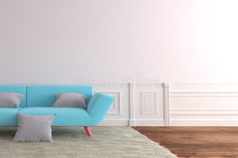 Vardagsrum som är inre med den blå soffan och matta, trägolv på tom vit väggbakgrund framf?rande 3d stock illustrationer