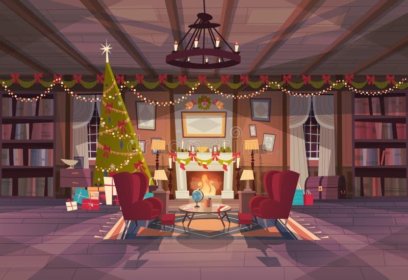 Vardagsrum som dekoreras för jul och nytt år, tomma fåtöljer nära, sörjer trädet och spisen, hemmiljögarnering stock illustrationer