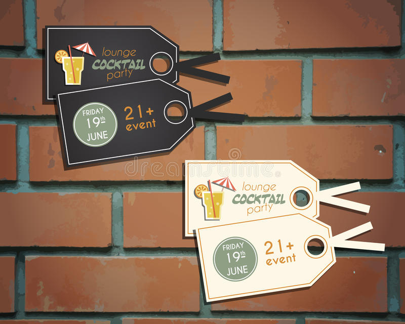 Vardagsrumcocktailpartyklistermärkear och etiketter vektor illustrationer