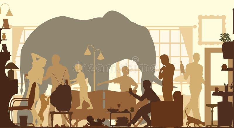 Vardagsrumelefant stock illustrationer