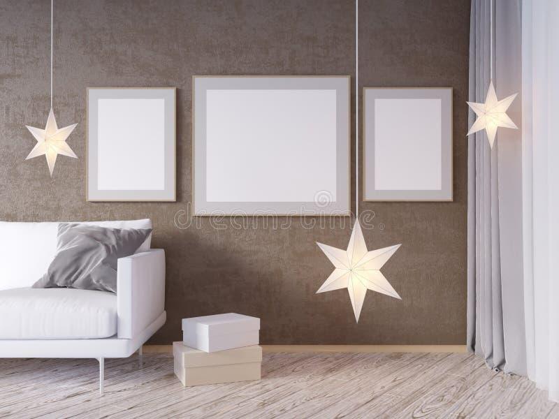 Vardagsruminnerväggåtlöje upp med den gråa tygsoffan, kuddar och Xmas-stjärnan på vit bakgrund, 3D tolkning, illustration 3D vektor illustrationer