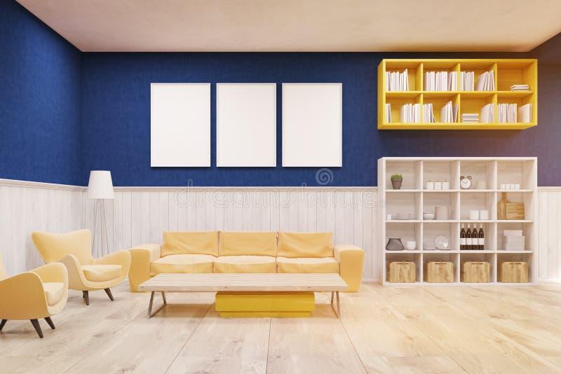 Vardagsruminre med blåa och vita väggar, trägolvet och den stora soffan vektor illustrationer
