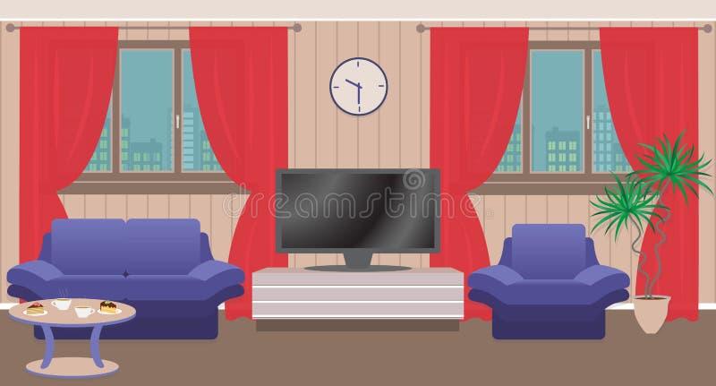 Vardagsruminre med möblemang, TV, fönster stock illustrationer