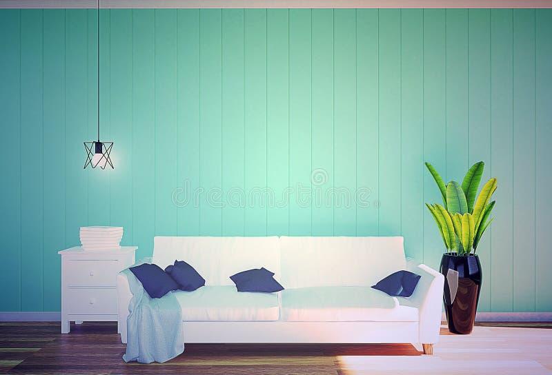 Vardagsruminre - soffa- och gräsplanväggpanel för vitt läder med utrymme i mjukt filter royaltyfri bild