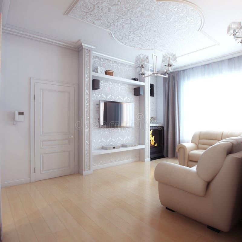 Vardagsruminredesign med soffan för vitt läder royaltyfri bild