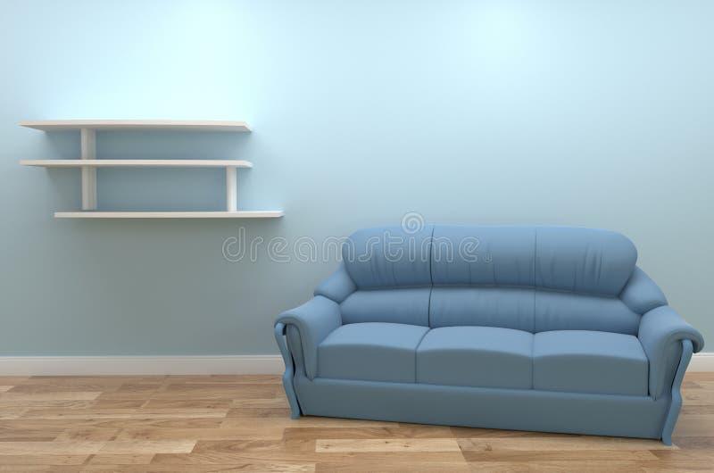 Vardagsruminredesign med soffan, trägolv på tom blå väggbakgrund framf?rande 3d vektor illustrationer