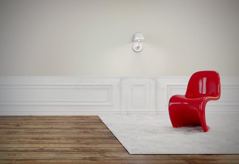 Vardagsrummet har en härlig röd stol, trägolv, och den vita väggen, 3D framför bild royaltyfri illustrationer