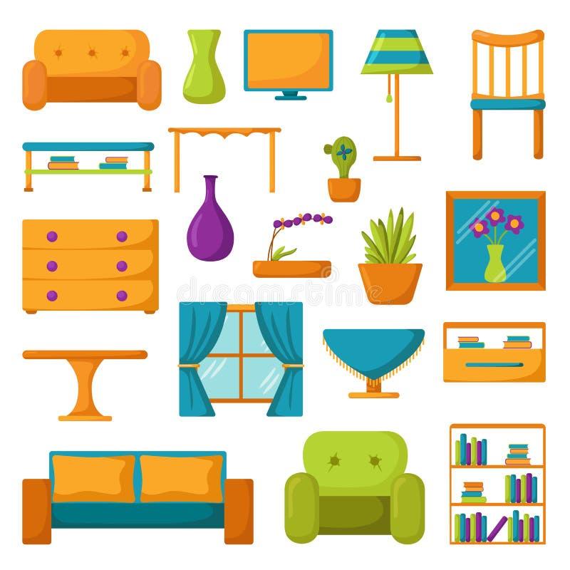 Vardagsrumsymboler Inre- och husmöblemang stock illustrationer