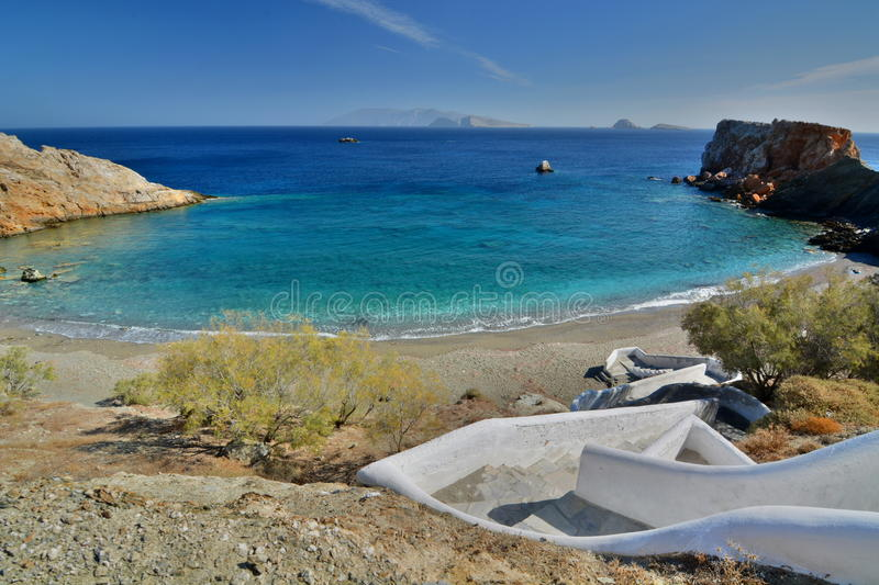 Vardia beach. Folegandros. Cyclades islands. Greece. Folegandros Pholegandros is a small Greek island in the Aegean Sea which, together with Sikinos, Ios, Anafi royalty free stock photography