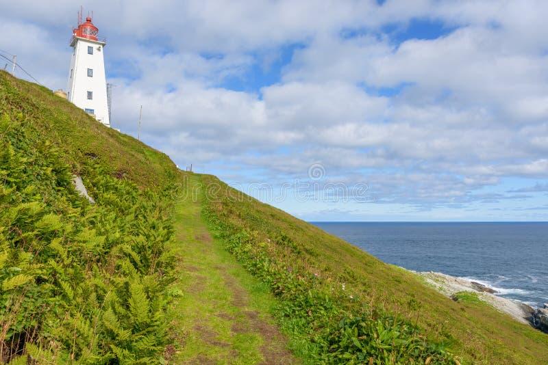 Vardovuurtoren op het noordpooleiland Hornoya, Finnmark, Noorwegen van de vogelkolonie stock fotografie