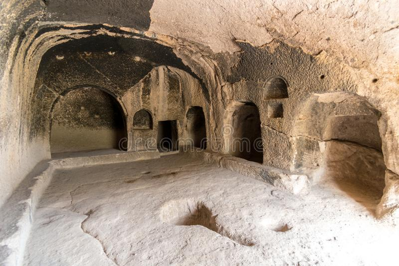 Vardzia-Höhlenraum im Klosterkomplex, Lesser Caucasus, Georgia stockfoto